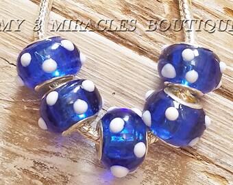 Blue White Polka Dots Large Hole Beads - European Style Charms - Wholesale Murano Glass Beads - Bulk Lot - fits Bracelets - DIY Jewelry Gift