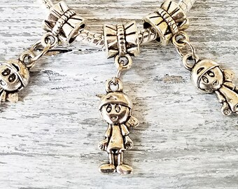 Silver BOY Charms - Boy Pendants - Large Hole Beads - European Style Charms - Bulk Lot - Little Boy Kids Child - for Mommy Bracelets - Gift