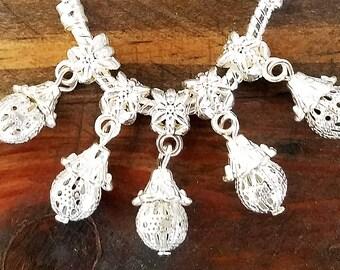 Silver Filigree European Style Charms   Dangle Ball Pendants   Wholesale Bulk Lot   Large Hole Beads   fits Bracelets Necklaces   DIY Gifts