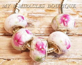 White Pink Floral Large Hole Beads - European Style Charms for Bracelets - Wholesale Bulk Lot - Porcelain Ceramic Glass - DIY Jewelry Gifts