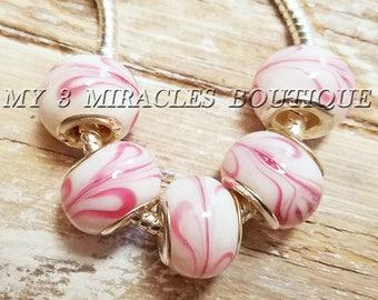 White Pink Ribbon European Style Beads | Large Hole Charms | Murano Glass Beads | Wholesale Bulk Lot Beads | fits Bracelets DIY Jewelry Gift