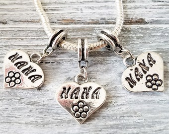 NANA Charms - Etched Silver Heart Pendants - Large Hole Beads - European Style Charms - Wholesale Bulk Lot - for Bracelets Necklaces - Gift
