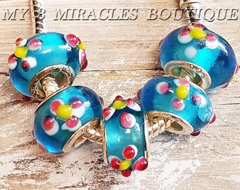 Blue European Style Murano Glass Beads - Pink Yellow Floral Lampwork- Wholesale Bulk Lot Charms - Large Hole Beads- fits Bracelets DIY Gifts