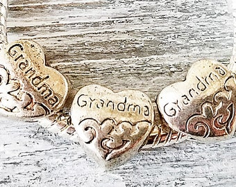 GRANDMA Charms - HEART Large Hole Beads - Antique Silver European Style Charms - Wholesale Bulk Lot - for Bracelets - Grandmother Gift