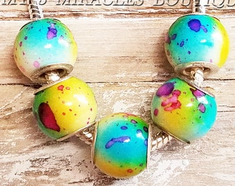 Blue Yellow Green Large Hole Beads for Bracelets - European Style Charms - Tie Dye Pattern - Acrylic Wholesale Bulk Lot - DIY Jewelry Gifts