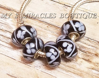 BLACK White Field of Flowers Glass Beads European Style Wholesale Bead Large Hole Lampwork Murano for Bracelets Necklaces DIY Jewelry Gift