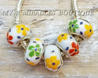 Floral Large Hole Beads for Bracelets - Orange Green Yellow White Porcelain - European Style Charms - Wholesale Bulk Lot - DIY Jewelry Gift