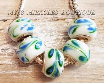 White Green Blue Large Hole Beads - Ribbon Swirl Murano Glass Charms - European Style Beads - Wholesale Bulk Lot- fits Bracelets - DIY Gifts