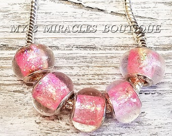 PINK GLITTER Glass Beads - Large Hole European Style Charms - Wholesale Bulk Lot - fits Bracelets Necklaces - DIY Jewelry Gifts