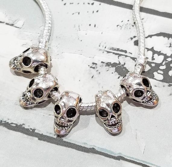 Oversize Skull Cross Halloween Skeleton Dangle Charm for European Bead Bracelet