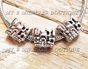 Princess CASTLE Large Hole Beads - Antique Silver European Style Charms - for Charm Bracelets - Wholesale Bulk Lot - Girls DIY Jewelry Gifts