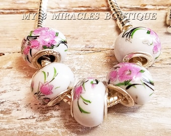 White Lavender Pink Floral - Large Hole Beads for Bracelets - European Style Charms - Wholesale Bulk Lot - Porcelain Glass- DIY Jewelry Gift