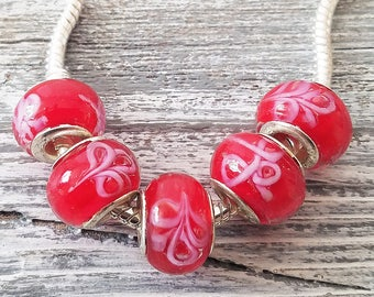 Red European Style Glass Beads | Bulk Lot Wholesale Charms | Large Hole fits Bracelets | Flower Swirl Murano | DIY Jewelry Gifts