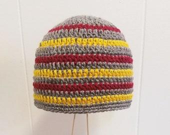 Garnet Gold  & Heather Gray Striped Beanie Crochet Knit Winter Hat One Size Fits Most