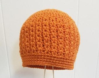 Cascade Beanie Pumpkin Orange Textured Crochet Messy Bun or Ponytail Beanie