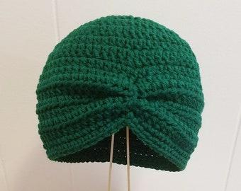 Crochet Turban Beanie Adult Teen Gypsy Boho Flapper Handmade Winter Hat in Paddy Green Ready to Ship