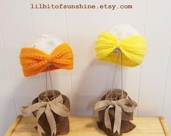 Crochet Bow Headband Ear Warmer - Turban Headband - Thick Winter Headband in Your Color of Choice Handmade
