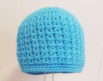 Handmade Crochet Cascade Beanie in Aqua or Your Choice of Color Custom