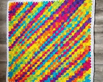 Rainbow Diagonal Striped Checked Baby Newborn Receiving Blanket Checkered Baby Shower Gift Unisex Boy Girl 34 in. x 34 in.