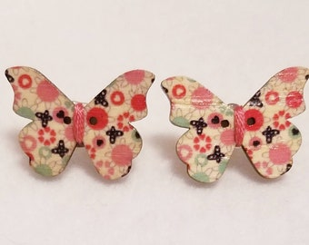Butterfly Button Earrings with Floral Print Stud Earrings