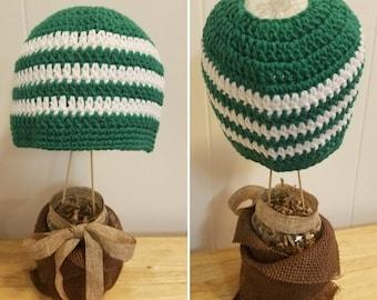 Messy Bun Beanie Ponytail Hat Crochet Handmade Custom Striped Winter Hat Teen Adult