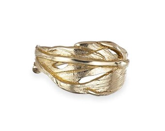 Solid Gold Hope Is a Thing With Feathers Ring