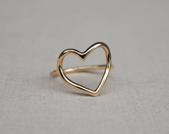 Solid Gold My Heart Is Open Ring