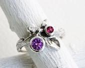 Gem Cluster,Amethyst,Rhodolite Garnet and White Topaz Silver Leaf Twig Ring,Leaf Fine Jewelry