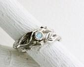 Rainbow Moonstone Twig Rings, Leaf Ring, Silver Branch Ring,Twig Ring, Leaf Engagement Ring, High Grade rainbow moonstone