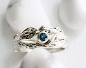 Teal London Blue Topaz Twig Rings, Leaf Ring, Eternity Silver Branch Ring, Leaf Engagement Ring