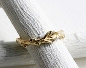 14K,18K Gold Leaf Twig Ring,Branch Ring, Nature Ring,14K or 18K Yellow or Rose Gold Ring,Nature Inspired Fine Jewelry