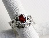 Garnet Leaf Twig Ring Set, Silver Twig Ring Set, Garnet Fine Jewelry