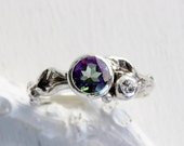 Mystic Topaz,White Sapphire Silver Leaf Twig Ring, Leaf Ring,Tree Nature Fine Jewelry