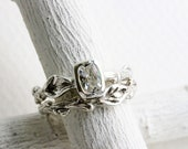 White Topaz Twig Rings, Leaf Ring, Silver Branch Engagement Ring Set,Tree Nature Fine Jewelry,Rctangular white topaz