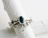 London Blue Topaz Twig Ring Set, Leaf Ring, Silver Branch Engagement Ring Set,Tree Nature Fine Jewelry,Oval London Blue Topaz