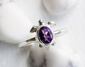 Amethyst Turtle Ring,Handmade Silver Ring ,Turtle Fine Jewelry, Made to Order