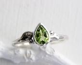 Pear Peridot Silver Leaf Twig Ring,Tree Nature Fine Jewelry