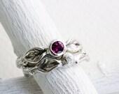 Rhodolite Garnet,White Sapphire,Engagement Rings, Silver Twig Rings,Branch Ring,Leaf Ring