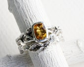 Citrine,White Sapphire,Leaf Twig Engagement Rings, Silver Twig Ring Set, Nature Tree Fine Jewelry