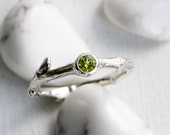 Peridot Silver Twig Ring, Natural Peridot Silver Branch Ring, August Birthstone, Nature Handmade Fine Jewelry