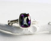Large Mystic Topaz Twig ring,Sterling Silver Antique Cushion 9 x 7mm,Tree Nature Fine Jewelry