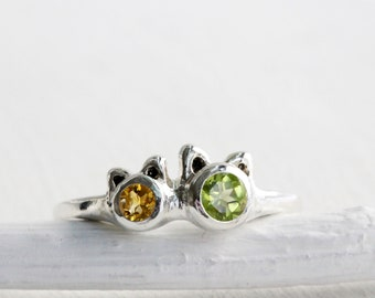 9ab8099d1 Mama Cat & Kitten Peridot Citrine Ring,Sterling Silver Cat Ring,Cat Fine  Jewelry,MADE TO ORDER
