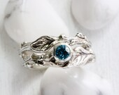 Blue Zircon Twig Rings, Leaf Ring, Silver Branch Ring Set,Tree Nature Fine Jewelry