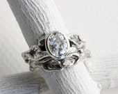 White Topaz,Leaf Twig Ring Set, Silver Branch Ring, Nature Fine Jewelry