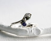 iolite Small Leaf Sterling Silver Ring, Iolite Ring,Nature Handmade Fine Jewelry