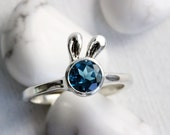 Teal London Blue Topaz Sterling Silver Ring,Bunny Fine Jewelry,MADE TO ORDER