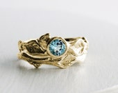 Sky Blue Topaz 14K Gold Twig Rings, Leaf Ring,Branch Engagement Ring Set,Tree Nature Fine Jewelry