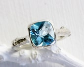 Large Sky Blue Topaz Twig ring,Sterling Silver Square Cushion 8 x 8mm,Tree Nature Fine Jewelry