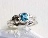 Blue Topaz Leaf Twig Engagement Rings,Silver Twig Ring Set,Leaf Ring,Tree Nature Fine Jewelry