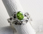 Peridot Leaf Twig Engagement Rings, Silver Twig Ring Set,Oval Natural Peridot Nature Tree Fine Jewelry